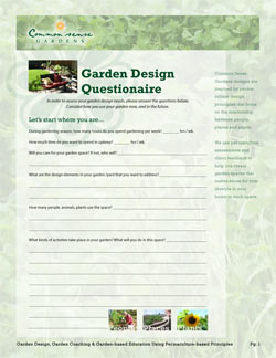 Common Sense Gardens - Garden Design Questionnaire 2013